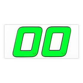 Race Number Sticker, set of 2, neon green, 1 mm foam...