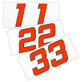 Race Number Sticker, set of 2, neon red, 1 mm foam material