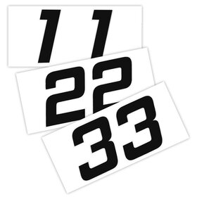 Race Number Sticker, set of 2  # 0, black, 1 mm foam...