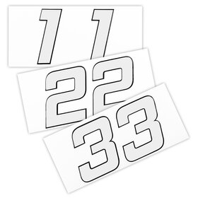 Race Number Sticker, set of 2, white, 1 mm foam material