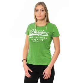 U-Neck T-Shirt LADIES, racing green, Vintage Logo weiß