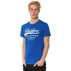 U-Neck T-Shirt MEN, racing blue, Vintage Logo weiß