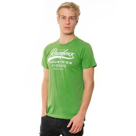 U-Neck T-Shirt MEN, racing green, Vintage Logo weiß